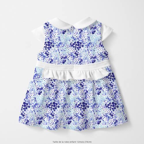 Coton écru motif fleurs des champs bleues
