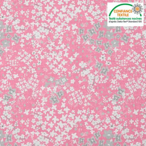 Coton rose motif fleurs des champs grises