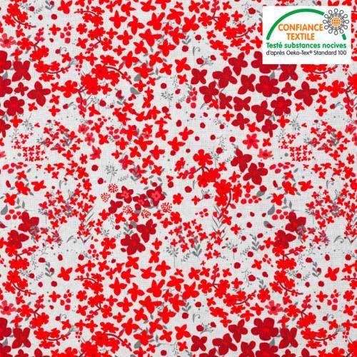 Coton blanc motif fleurs des champs rouges