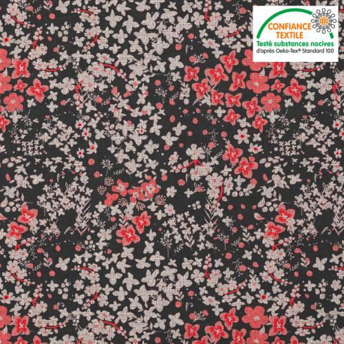 Coton noir motif fleurs des champs lin et corail