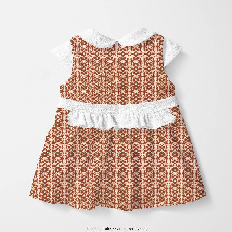 Coton rouge brique motif asanoha doré