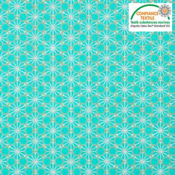 Coton bleu turquoise motif asanoha doré