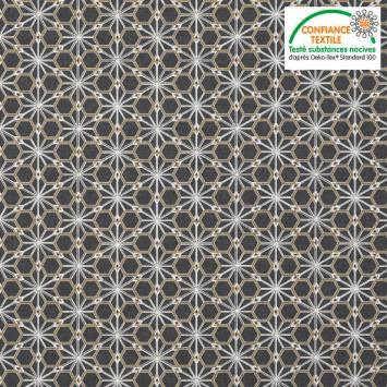 Coton anthracite motif asanoha doré
