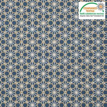 Coton bleu jean motif asanoha ocre