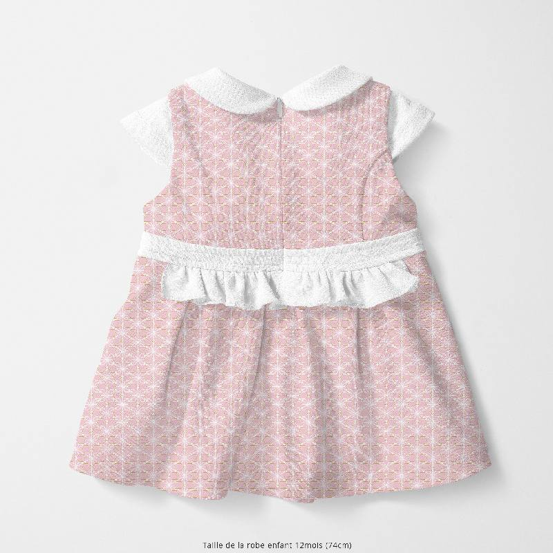 Coton rose motif asanoha ocre