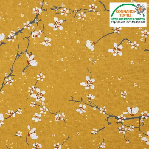Coton ocre motif fleur de cerisier