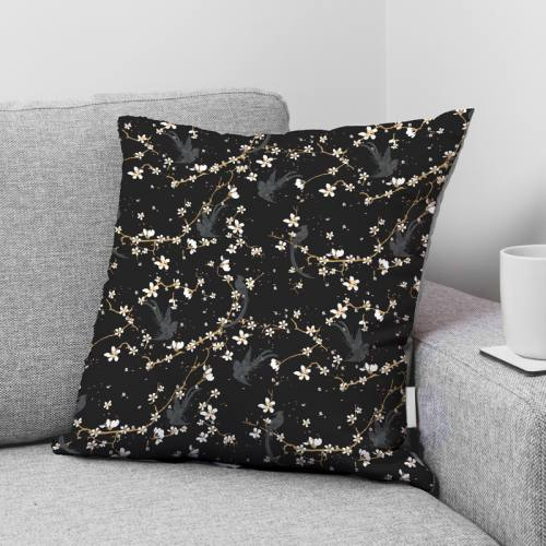 Coton noir motif fleur de cerisier et oiseau