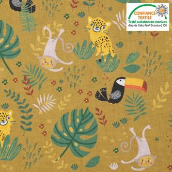 Coton jaune banane motif animaux de la jungle