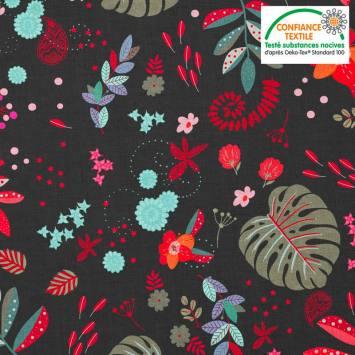 Coton noir motif mur floral rouge et vert