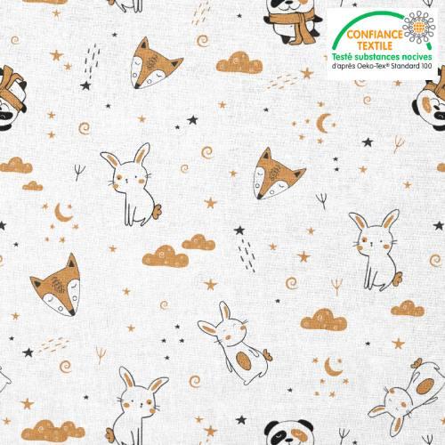Coton blanc motif animaux et nuit étoilée beige