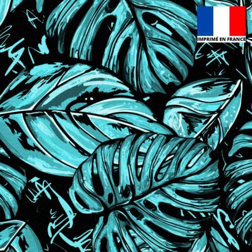 Velours noir motif feuille pop bleue et blanche