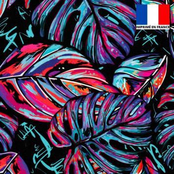 Velours ras noir motif feuille pop rose et bleue