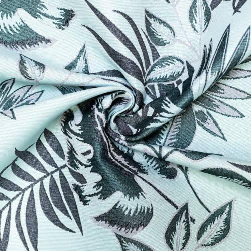 Jacquard bleu azur feuilles tropicales vertes et bleu jean