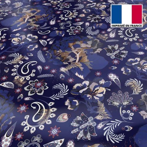 Satin bleu nuit motif tableau floral