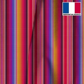 Velours ras multicolore motif rayé effet tissé