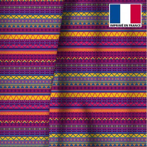 Velours ras multicolore motif ethnique mexicain