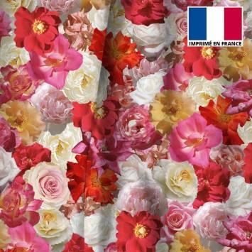 Velours ras motif milles et une fleurs roses et jaunes
