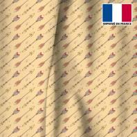 Velours ras beige motif flèche indienne