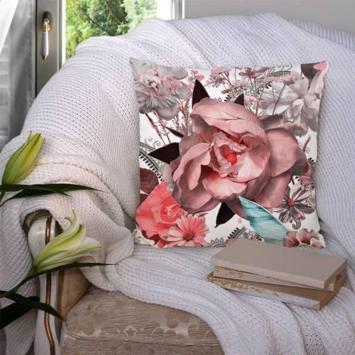 Coupon velours ras écru motif grosses fleurs jungle et cachemire