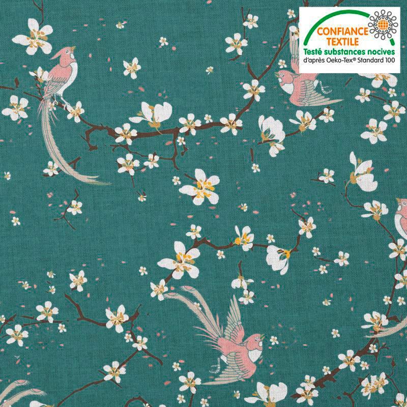 Coton bleu canard motif fleur de cerisier et oiseau