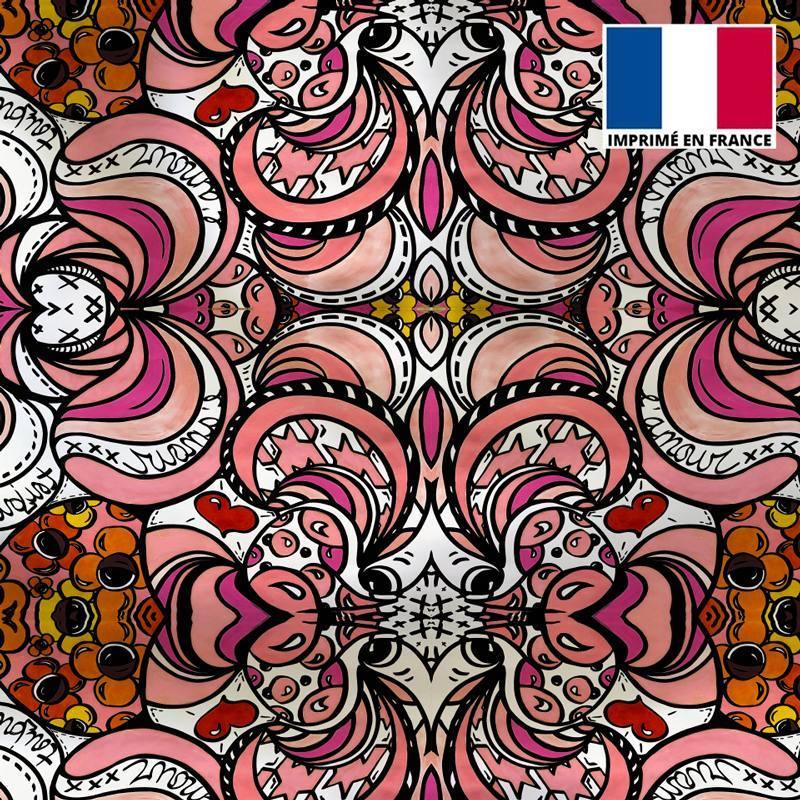 Satin rose motif pied de poule et fleurs psychédélique - Anne-Sophie Dozoul