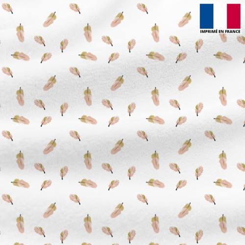 Polaire blanche motif plume rose et beige
