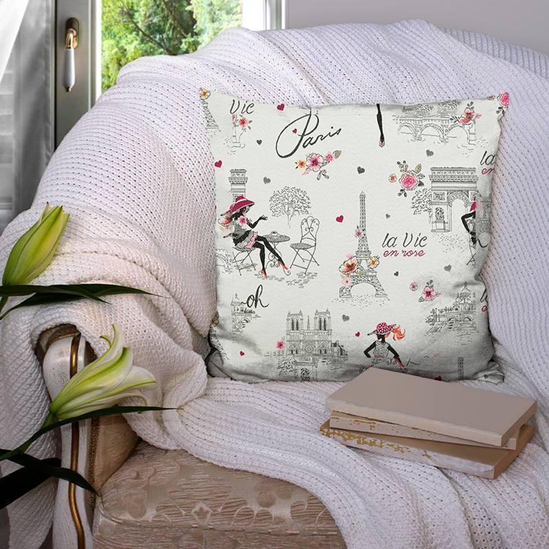 Coupon 50x73 cm - Jacquard gris la vie en rose