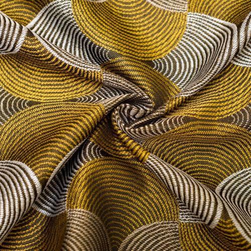 Coupon 50x68 cm - Jacquard noir motif rosace jaune et blanche