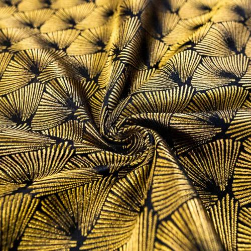 Coupon 50x68 cm - Jacquard noir éventail jaune or