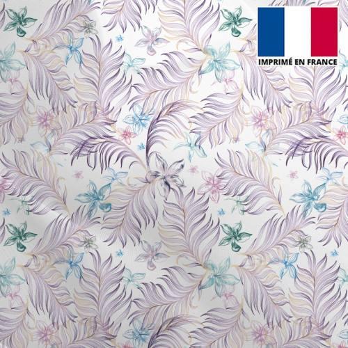 Mousseline crêpe écru motif feuille violette et fleur bleue