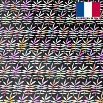 Mousseline crêpe noire motif feuille multicolore