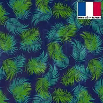 Tissu burlington bleu motif feuilles tropicales vertes