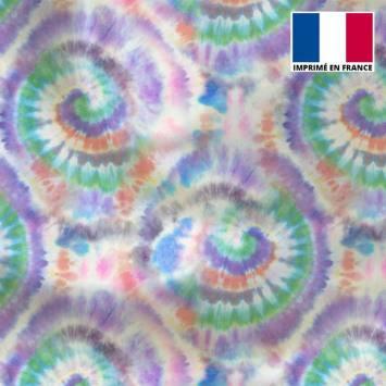 Tissu microfibre écru motif tie and dye violet et orange