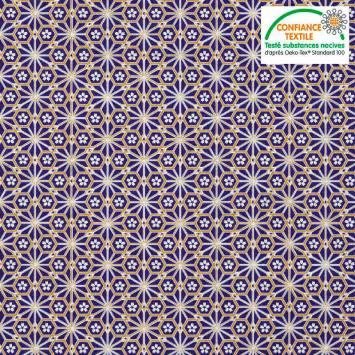 coupon - Coupon 50cm - Coton bleu marine motif asanoha doré fleur blanche