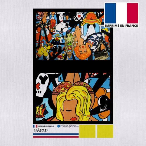 Kit pochette canvas motif pin-up pop culture - Création Anne-Sophie Dozoul