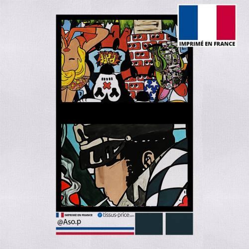 Kit pochette noir motif aventurier - Création Anne-Sophie Dozoul
