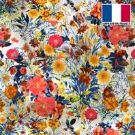 Satin écru motif bouquet de fleurs champêtres