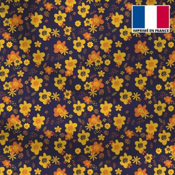 Satin aubergine motif fleur seventies jaune et orange