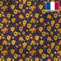 Satin aubergine motif fleur seventies jaune et orange