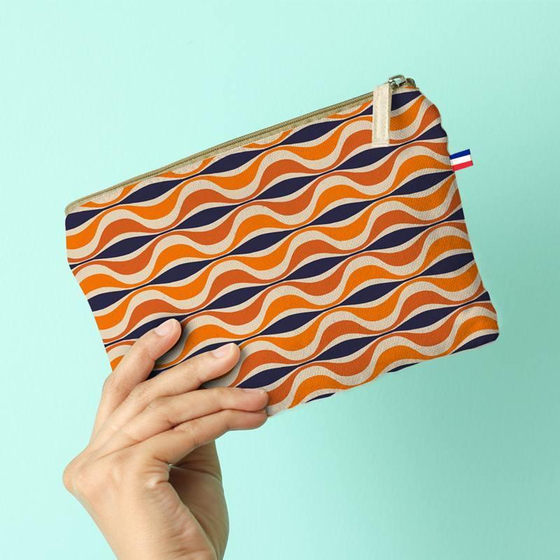 Kit pochette canvas orange motif forme géométrique rétro