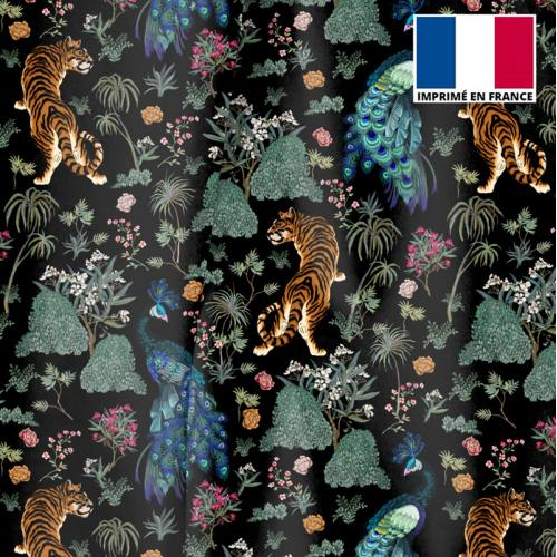 Velours ras noir motif tiger asiatique