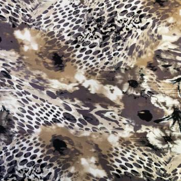 Jersey viscose écru imprimé fleur taupe