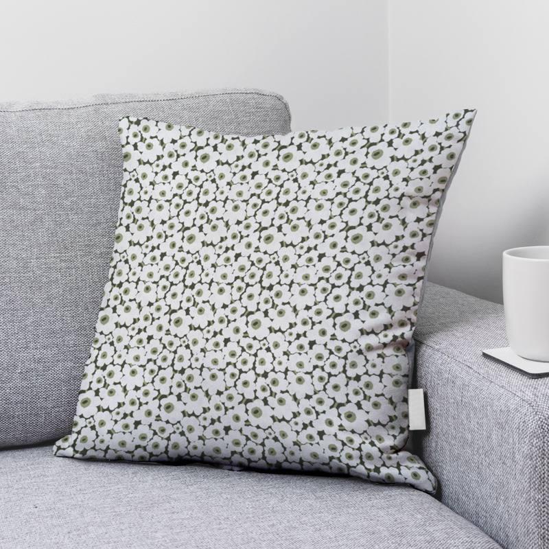 Coton bio vert imprimé fleurs blanches Oeko-tex