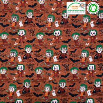 Coton bio orange motif chauve-souris Halloween Oeko-tex