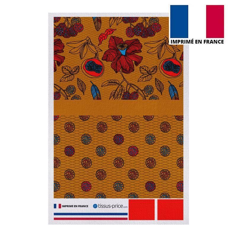 Kit pochette canvas jaune miel motif wax fleur rouge