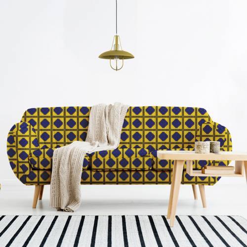 Velours ras jaune motif tableau wax géométrique bleu