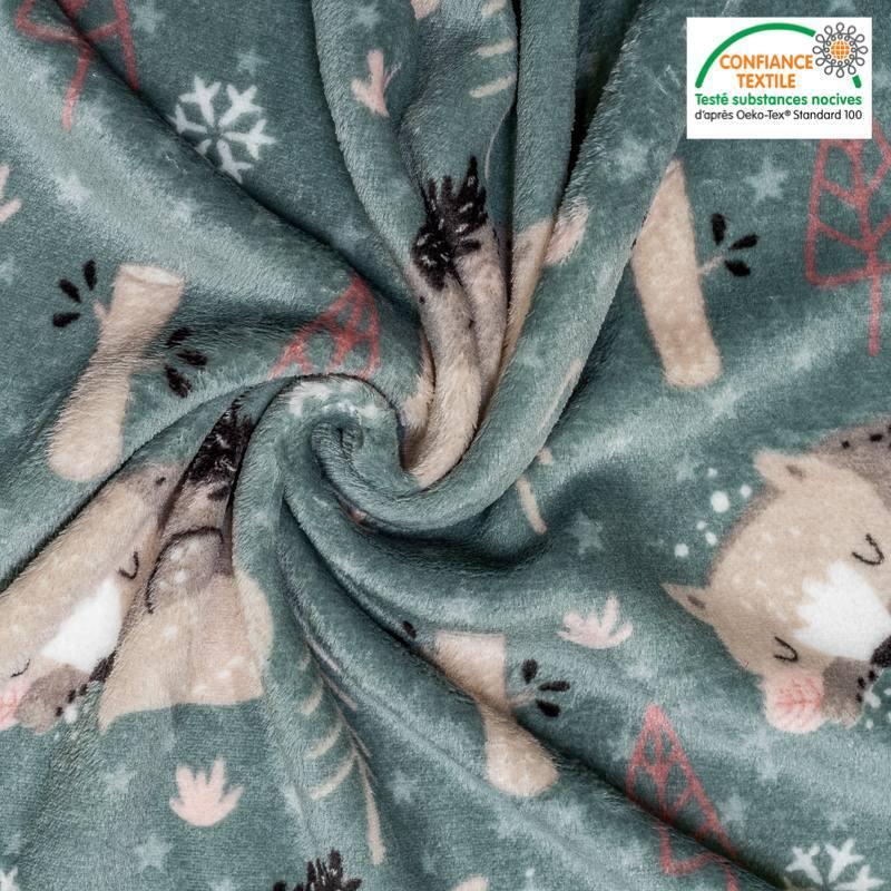 Polaire microfibre verte imprimée renard gris Oeko-tex