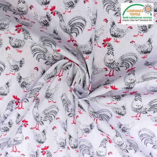 Coton gris motif galinette Oeko-tex