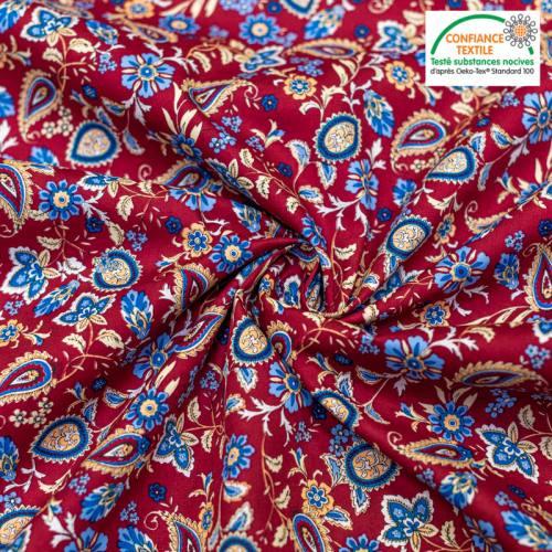 Popeline de coton bordeaux motif paisley bleu Oeko-tex