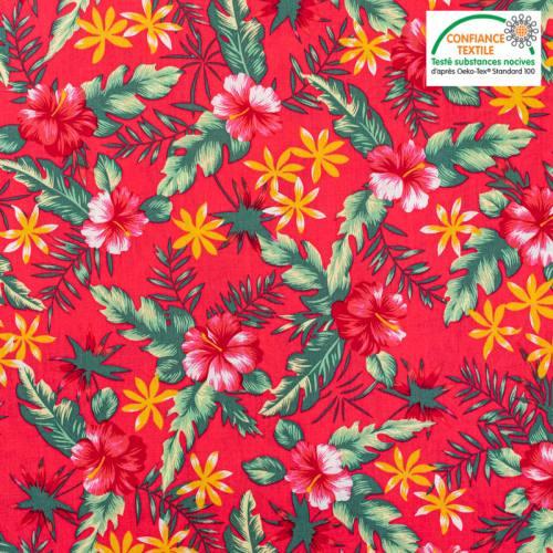 Popeline de coton rouge motif fleur d'hibiscus rose Oeko-tex